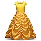 Costume Bambine Vestito Principessa Belle da Ragazze 3-10 Anni (7-8 Anni (128 cm))