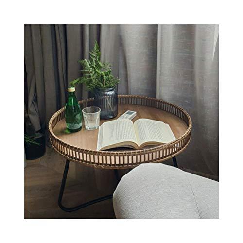 Moderne Koffietafel Bank In De Woonkamer Bijzettafel Rotan Leisure Frame Van Eenvoudige Kleine Ronde Nachtkastje Round Salontafel 4.11 (Color : 60X46CM)