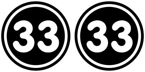 Samunshi® 2 x Startnummern Rund Aufkleber für Motorrad Auto oder Fahrrad Sticker 15cm Breit schwarz