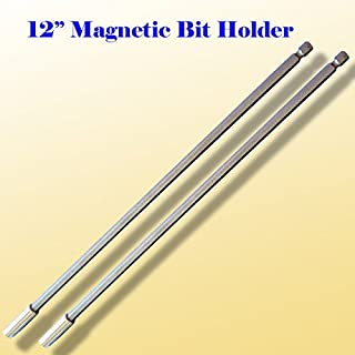 """Pack of 2 12"""" Long Magnetic Bit Extension Extended Holder Quick Change 1/4"""" Hex Shank for Standard Power Drill"""
