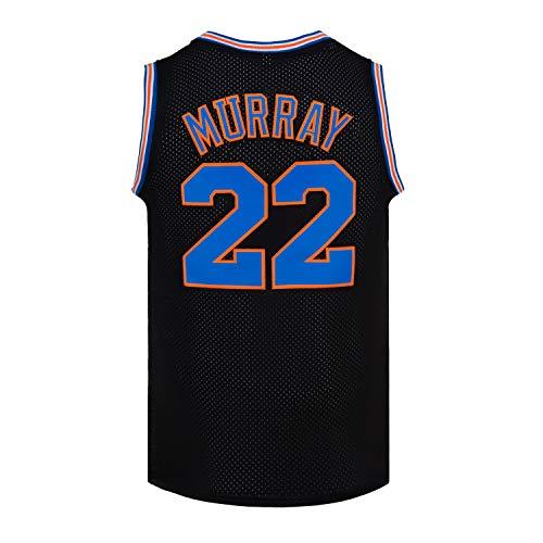 CNALLAR Mens Basketball Jersey Bill Murray #22 Space Jam Jersey Shirts White/Black (Black, Medium)