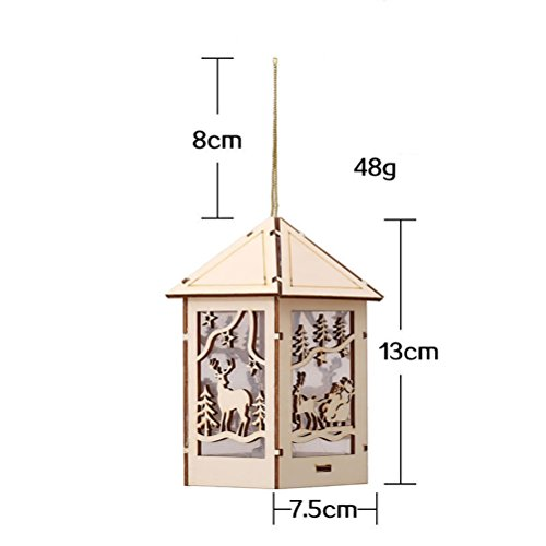 TINKSKY Christmas Lighted House with Reindeer Cutout Wooden Christmas Ornament Hanging Christmas Decoration
