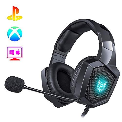 Voleno Audifonos Gamer con micrófono para Xbox one, PS4, PC, Nintendo Switch, Headset gaming con 7.1 Surround Sound, Auriculares diadema con control de volumen, luces LED, mic con...