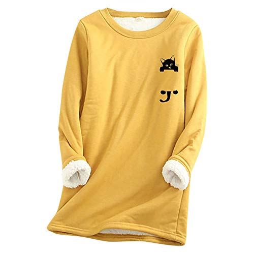 Womens Pullover Plus Size Cute Black Cat Print Tunic Tops with Fleece Lining Casual Winter Warm Soft Comfy Loose Sweatshirt Long Sleeve O-Neck Graphic T-Shirt Blouse Base Layers