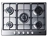 Summit Appliance GC527SS 27' Wide 5-Burner Gas Cooktop, Sealed Burners, Continuous Cast Iron Grates, Curved Design, Centralized Controls, Thermocouple Flame Failure Protection, Conversion Kit Included