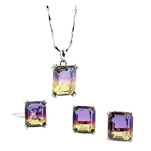 Beydodo Conjunto de Joyas de Plata de Ley Mujer Cuadrada con Esmeralda Circonita Púrpura Amarillo Púrpura Amarillo
