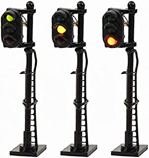 JTD1508GYR 3PCS Model Railroad Train Signals 3-Lights Block Signal N Scale 12V Green-Yellow-Red Traffic Lights Train Layout