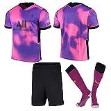 Weqenqing Maillot Rugby Paris Rose Et Violet, Maillot Rugby + Short + Chaussettes, Maillot Rugby Enfants Adulte Personnalisé Maillot De Football Homme (Color : Purple, Size : S)