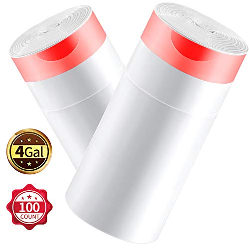 KONE Drawstring Trash Bag 4 Gallon Small Garbage Bags Extra Thick Wastebasket Bin Liners Plastic Trash Bags for Bathroom Bedroom Office Car Kitchen and Home 100 Count