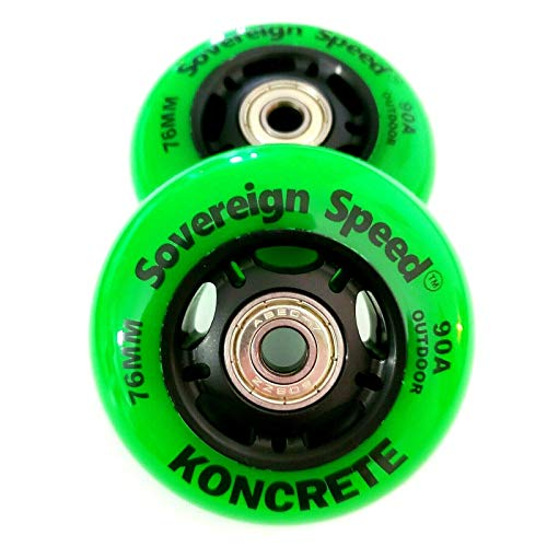 2x 76mm RipStik / Inline Skate Wheels with Abec-9 Bearings , for full size razor ripstiks , casterboard, waveboards