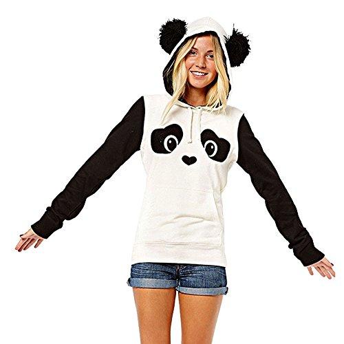 VECDY Damen Pullover,Räumungsverkauf- Herbst Neue Damen Panda TascheHoodie Sweatshirt mit Kapuze Pullover Tops Bluse Lässiger Sportpullover Sweatshirt Populärer Neuer Pullover Warme Jacke(Weiß,34)