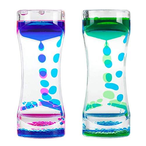 spier 2 piezas de colorido líquido temporizador alivio de la ansiedad, temporizador de movimiento líquido, temporizador de burbujas de aceite, reloj de arena Fidget juguetes para niños y adultos