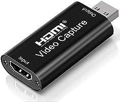 DIWUER Capturadora de Video HDMI, 4K HDMI a USB 2.0 Convertidor Video Audio, HDMI Vídeo Game Capture 1080P 30FPS para...