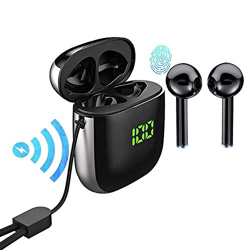 TOP Bluetooth 5.0 Wireless Earbuds with 【24Hrs Wireless Charging Case】 IPX5 Waterproof TWS Stereo Headphones in Ear Built in Mic Headset Premium Sound with Deep Bass for Sport