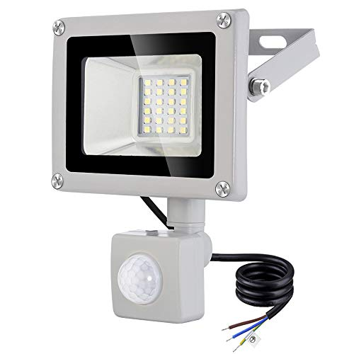 20W Foco LED con Sensor de Movimiento, Proyector LED Exterior Super Brillante 1600LM 6500K Blanco frío IP65 Impermeable Foco LED Detector Para Garaje Courtyard, Plaza, Hotel, Patio