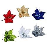 Sogaml 6 flores artificiales con purpurina de Navidad, color plateado, rojo, blanco, azul, verde, amarillo, flores artificiales para decoración de árbol de Navidad