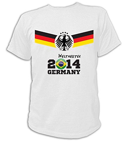 Artdiktat Herren Deutschland Fan T-Shirt - Fussball Weltmeister 2014 Germany - Trikot Ersatz - Wunschname und Nummer Größe L, weiß