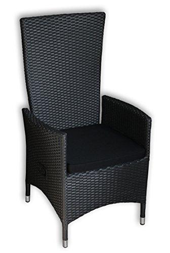 KMH®, 2er Set Polyrattan Hochlehner Tjorben schwarz incl. Kissen (stufenlos verstellbare Rückenlehne - 4 String) (#106005)