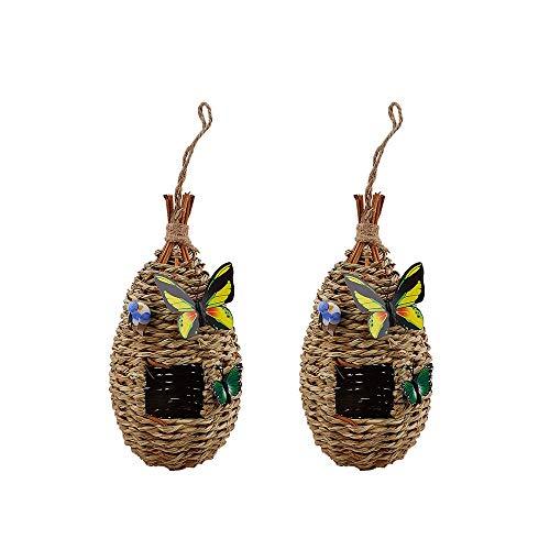 æ— Nido de paja, 2 piezas de pajita natural tejida para pájaros, jaula de cría con mariposas falsas y pájaros para pinzón canario y loro pequeño