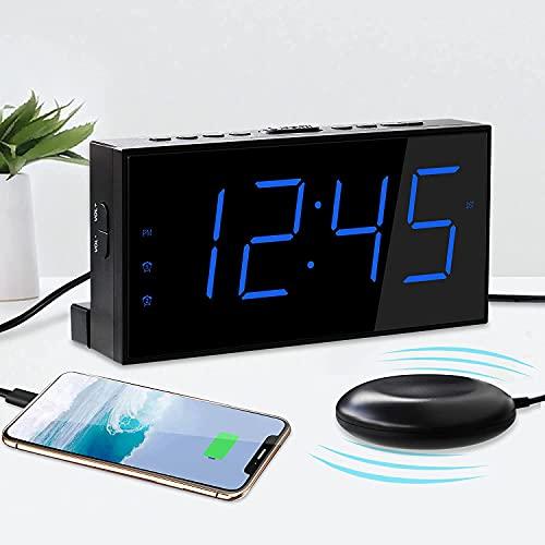 """Réveil pour Sourd et Malentendant, Alarme Vibration pour Gros Dormeur, Ecran LED 7""""&Lumineux à 5 Niveaux, Sonne Fort&Volume Réglable, 2 Réveil&Snooze, Port USB&sur Secteur&à Pile de Secours, 12/24H"""
