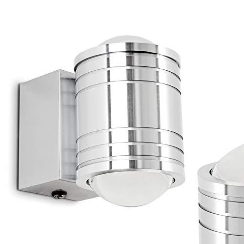 LED Wandlampe Florenz, Wandleuchte aus Metall u. Glas in Aluminium gebürstet, Wandspot 2-flammig mit Ein-/Ausschalter, 2 x 3 Watt, 480 Lumen insgesamt, 3000 Kelvin, IP44 für Badezimmer geeignet