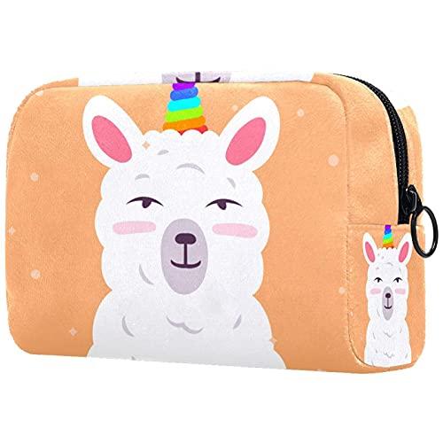 Unicorn Alpaca Llama Bolsa de maquillaje para bolso de viaje neceser organizador de cosméticos portátil versátil con cremallera para mujeres y niñas