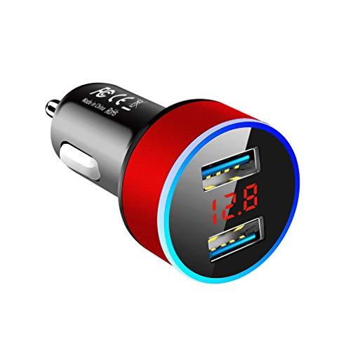 WXZQ Cargador de Coche USB Dual 3.1A con Pantalla LED Cargadores de Coche universales para teléfono móvil Adaptador de Carga rápida Rojo