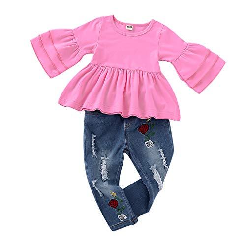 Julhold Baby Kid Meisje Mode Frill Eenvoudige Katoen T Shirt Tops+Bloemenborduurwerk Denim Slim Broek Outfit Set 1-4 Jaar