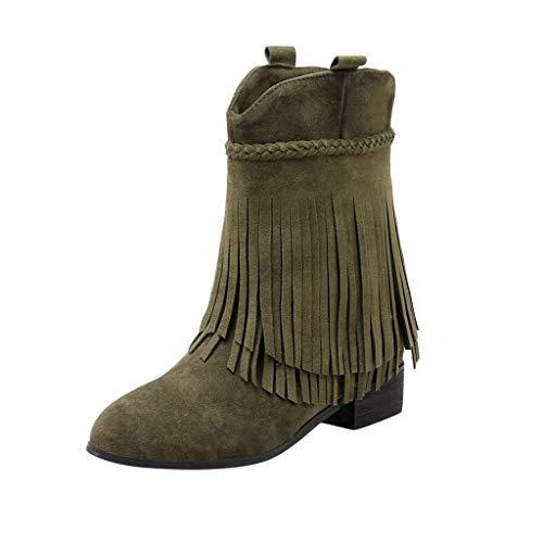 NPRADLA Frauen Wildleder Stiefel Lange Fransen Winter Slip On Stiefel Große Outdoor Plateauschuhe Mädchen Mode Stiefel