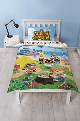 Animal Crossing Official Single Duvet Cover | Reversible Two Sided Beach Design | Polycotton Fun Bedding with Matching Pillow Case, Multi Coloured, 200 x 135cm (Single Duvet)