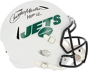"Curtis Martin New York Jets Autographed Riddell Flat White Alternate Revolution Speed Replica Helmet with""HOF 12"" Inscription - Autographed NFL Helmets"
