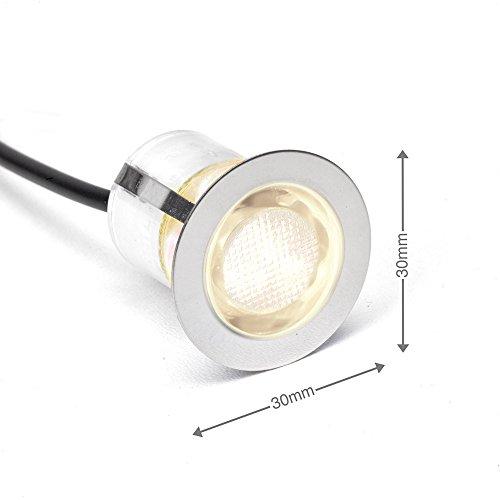 10x LED Einbauspots/Einbauleuchten, Ø 30 mm, IP44 - spritzwassergeschützt, warmweiß, Metall/Glas, edelstahl