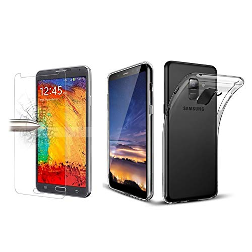 TBOC Pack: Transparent Gel TPU Hülle + Hartglas Schutzfolie für Samsung Galaxy A8 (2018) - A5 (2018) (5.6 Zoll) - Superdünn Flexibel Silikonhülle. Panzerglas Bildschirmschutz Kristallklar Premium