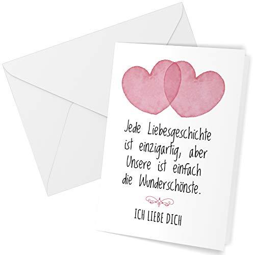Klappkarte mit Umschlag Liebe Valentinstag Valentinskarte Grußkarte 2 Herzen mit schönem Spruch Liebeskarte mit Herzen rot