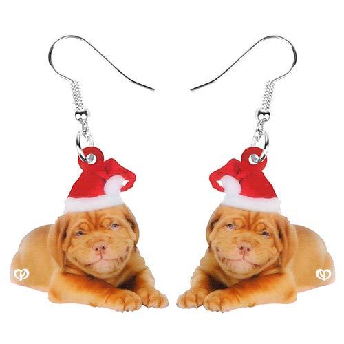 nobrand Ohrringe Damen Acryl Hut Bulldogge Hund Ohrringe Drop Dangle Sweet Animal Pets Schmuck