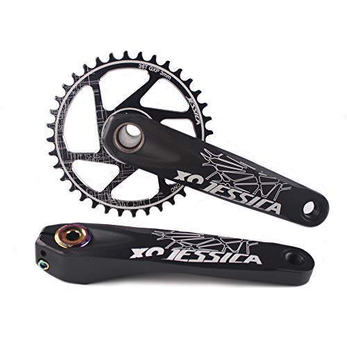 BUCKLOS 【UK Stock】 Mountain Bike GXP Hollow Crankset 170mm, Single Speed GXP Chainring 32T 34T 36T 38T, Offset 3mm, Rear Axle 148, Gift: Multicolor Crank Cover