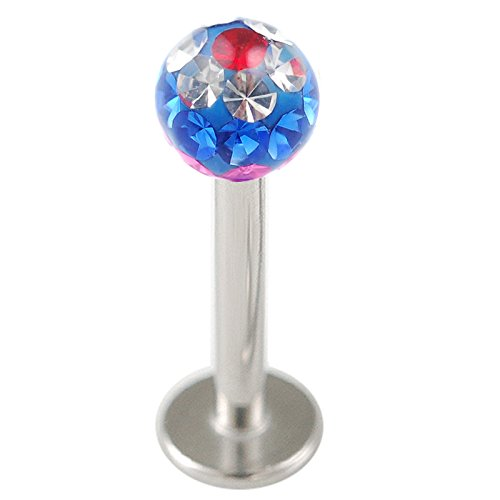 Jewelry Lippenpiercing 316L Chirurgenstahl Madonna Lippen Piercing Labret Stahl Kristall 1,2 x 8mm HAEP