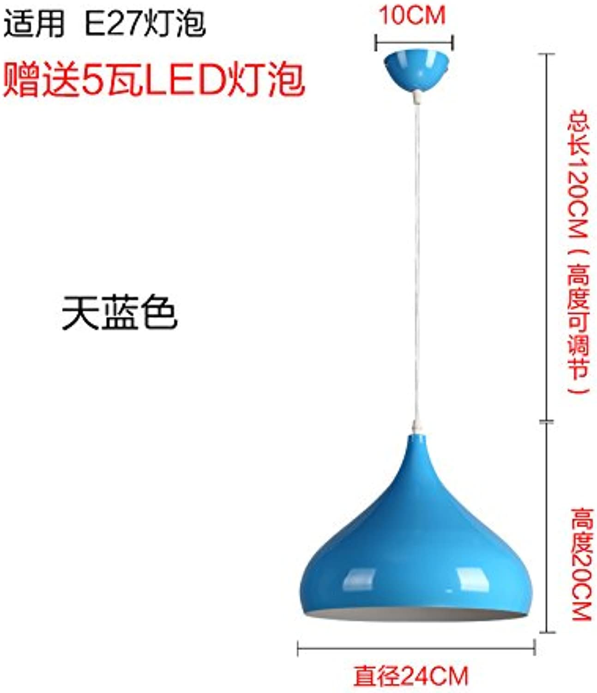 Luckyfree Einfache moderne Single Head Farbe Pendelleuchte Zimmer Bar Cafe Restaurant Küche Flur Lampen Deckenleuchte Kronleuchter, 24 cm blau
