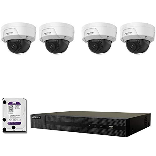 Kit de videovigilancia Pro IP HIKVISION 4 cámaras POE cúpulas IR 30M 4 MP + grabadora NVR 4 canales H265+ 2000 GB