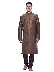 Manyavar Mens Brown Full Sleeve Regular Fit Banded Collar Kurta Paired with Churidar