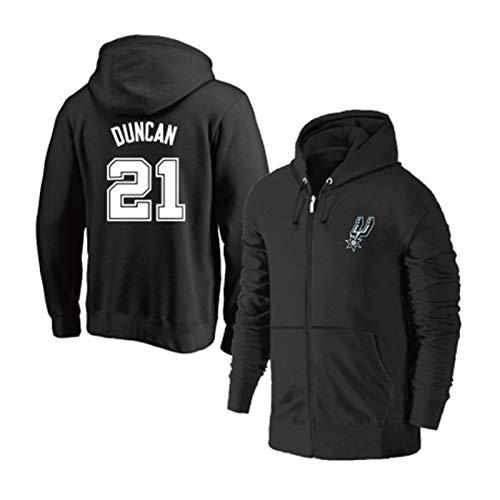 Spurs # 21 Duncan Basketball Jersey, Big Fundamental Micro-Fleece Langarm Basketball Hoodie Basketball Sports Cotton Sweater (S-3XL) Black-XL
