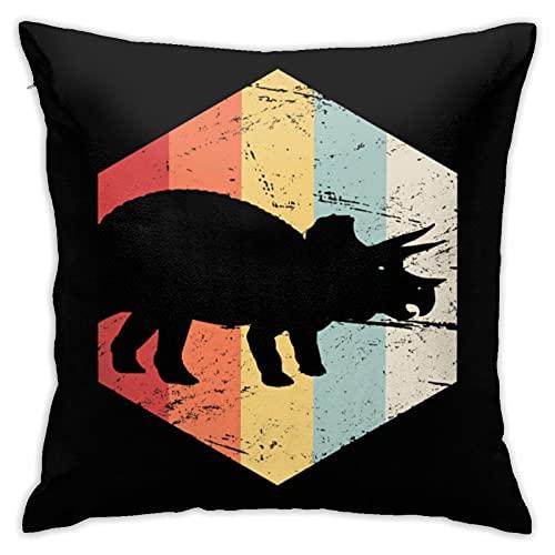 Funda de almohada retro de los años 70 Triceratops decorativa funda de almohada cuadrada para decoración del hogar, 45,7 x 45,7 cm