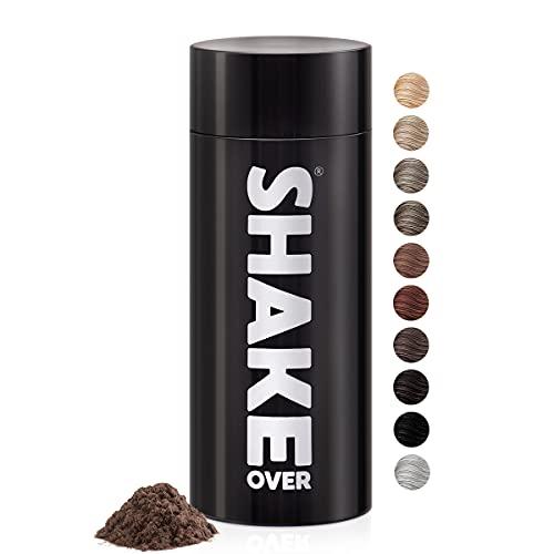 shake over Fibras Capilares vegano, engrosamiento de cabello, microfibras, Hecho en Europa (30 g, CASTAÑO CLARO)