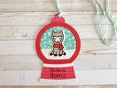 Geschenkanhänger Weihnachten Schneekugel mit Lama und Glitzer, handgemacht