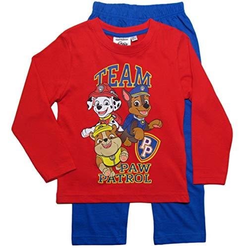 PAW PATROL Schlafanzug Jungen Pyjama Schlafanzug Lang (Marine/Rot, 104-110)