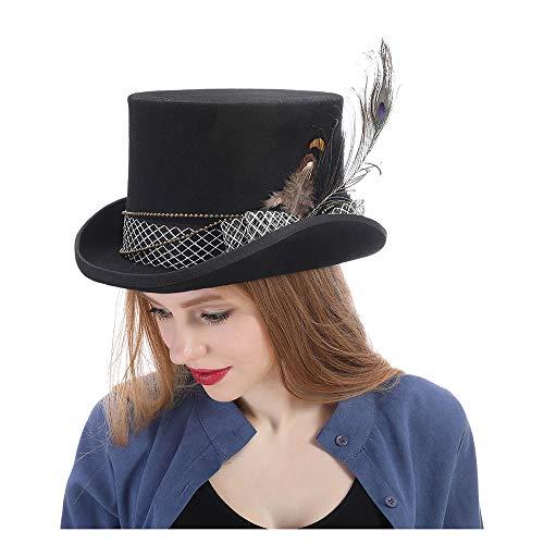 RedAlphabet Mode Belles Femmes Wen Fedora Chapeau Steampunk Chapeau Steampunk Vêtement Fedoras Chapeau Top Chapeau (Color : Black, Size : 57CM)