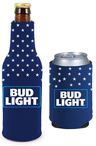 Kolder Licensed Beer Coolie Insulator Sleeve Holder Huggie Can & Bottle Set (Bud Light Patriotic)