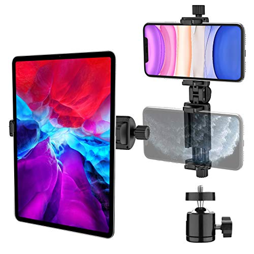 iPad Tripod Mount Adapter, 2-in-1 Tablet/Phone Clamp Holder, 360° Rotatable Metal Ball Joint with 1/4' Screw, Suitable for Tripod, Monopod, Selfie Stick, Compatible with 4' - 12.9' Screen Devices