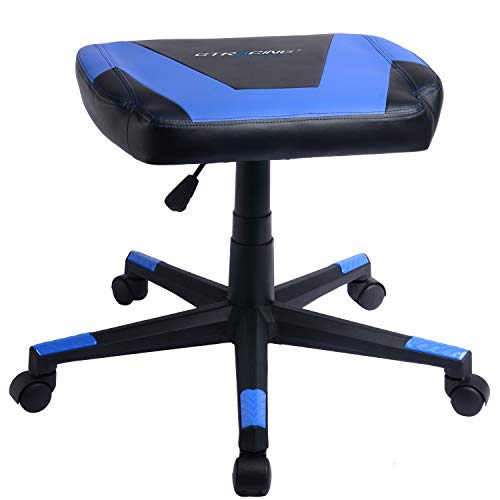 GTRACING Gaming Ottoman Footstool Chair Height Adjustable Footrest Spare Seat PU Leather (Blue)