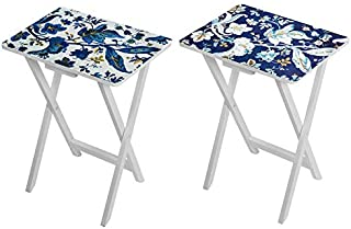 J. Thomas Blue Floral, Set of Two, Foldable TV Tray Tables